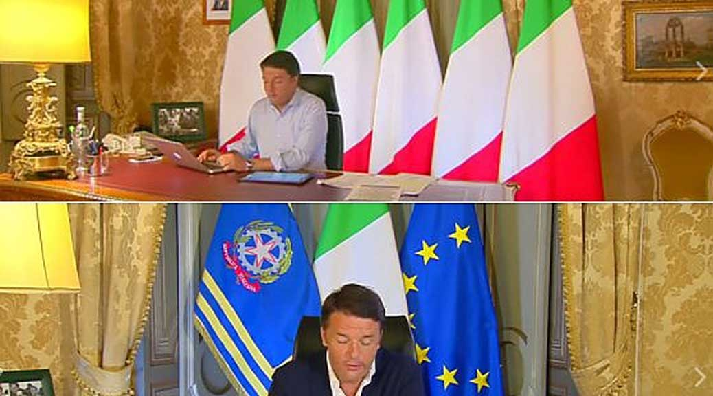 Renzi toglie la bandiera Ue per la diretta Facebook, ma viola la legge. E il suo euroscetticismo non ce lo beviamo