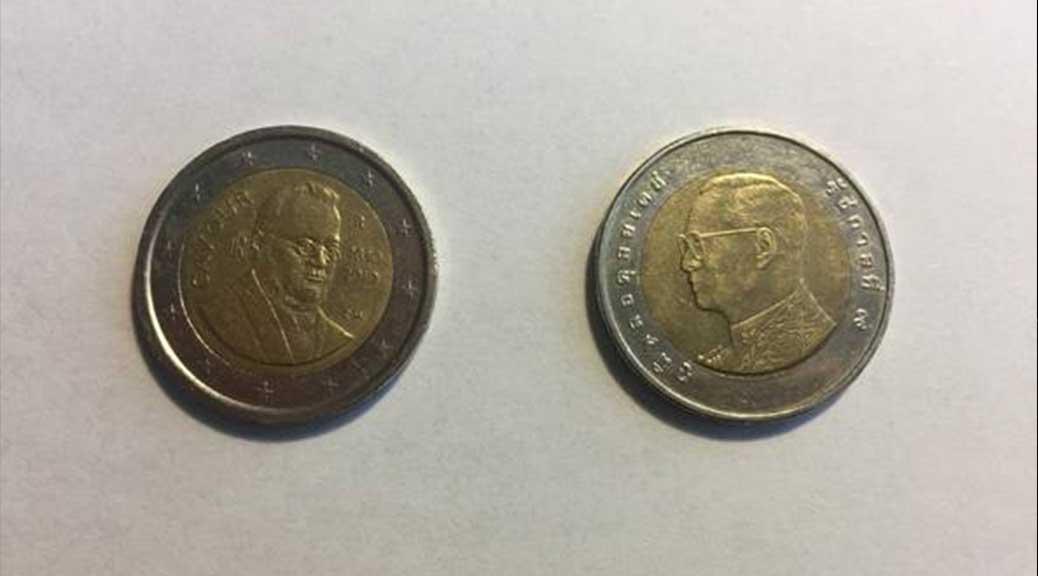 Monete thailandesi al posto dei due euro: attenzione al resto