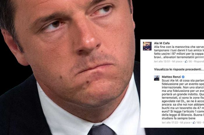 Utente a Renzi: 'La manovrina serve a tamponare i tuoi danni'. La replica: 'Ho lasciato un gruzzolo da 47 miliardi'