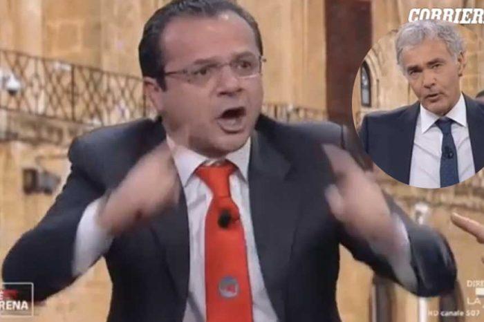 Cateno De Luca a Non è l'Arena: urla in studio e Giletti gli chiude il microfono