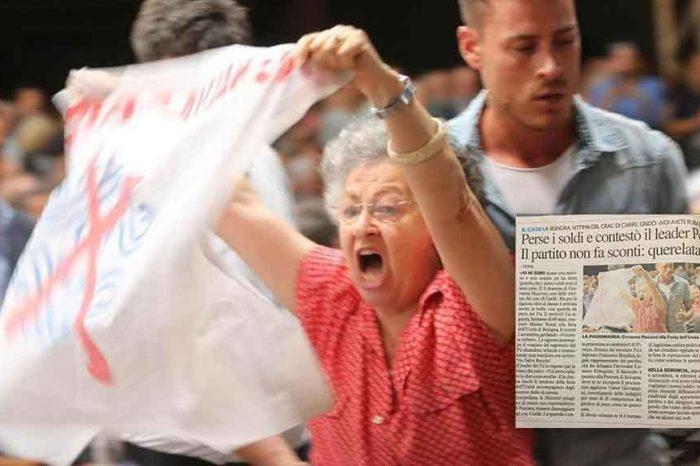 Giovanna Mazzoni querelata dal Pd. Gridò a Renzi: 'Avete rubato ai risparmiatori'