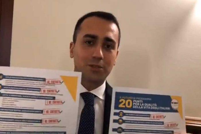 Di Maio: 'I 20 punti per la qualità della vita degli italiani sono tutti entrati nel contratto di governo'