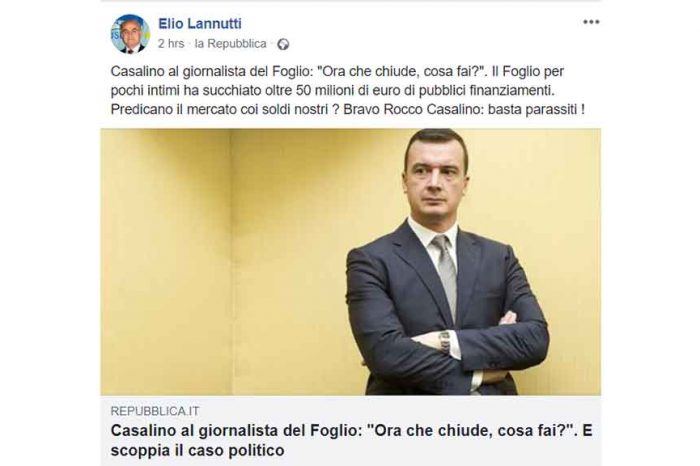 Caso Casalino-Il Foglio, Lannutti: 'Bravo Rocco: basta parassiti'