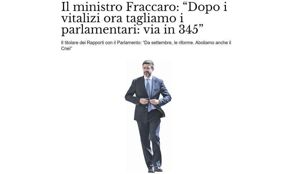 Il ministro fraccaro 39 dopo taglio vitalizi riduzione del for Numero deputati