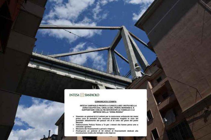 Genova, Intesa Sanpaolo cancella i mutui nella zona rossa colpita dal crollo del ponte Morandi
