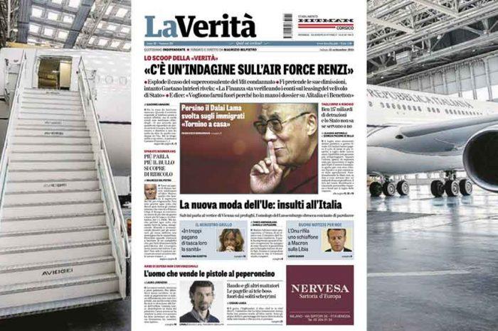Lo scoop de La Verità: 'C'è un'indagine sull'Air Force Renzi'