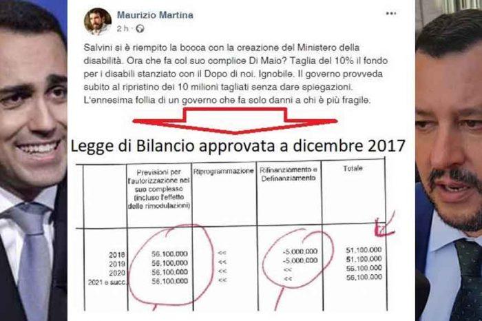 Pd, Martina: 'Salvini e Di Maio tagliano del 10 per cento il fondo per i disabili'. Ma è stato il governo Gentiloni