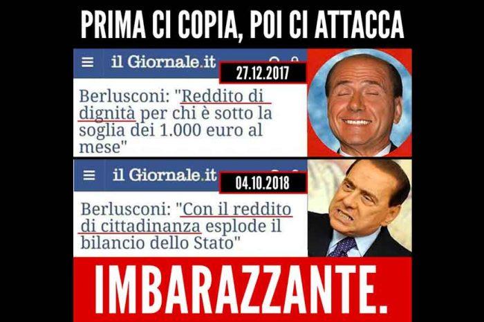 M5S: 'Berlusconi imbarazzante: prima ci copia, poi ci attacca'