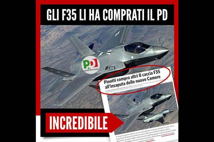 F35, arriva la replica del M5S: 'Li ha comprati il Pd'