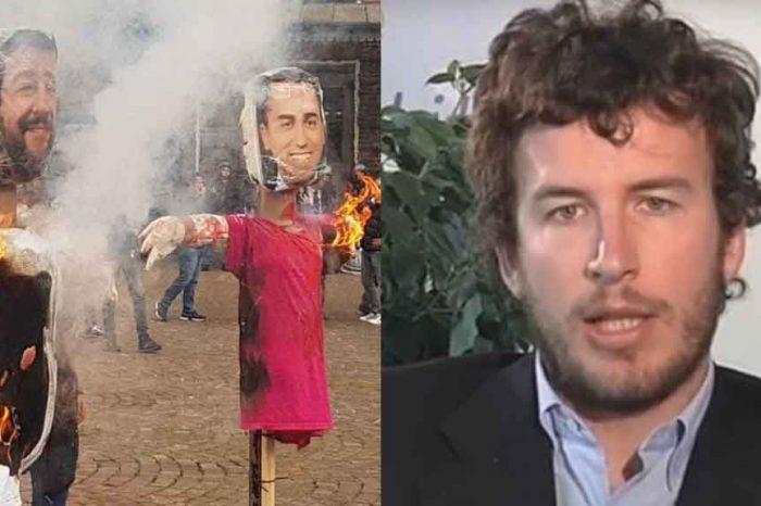 Manichini bruciati Salvini e Di Maio, Diego Fusaro: 'Gesto patetico'