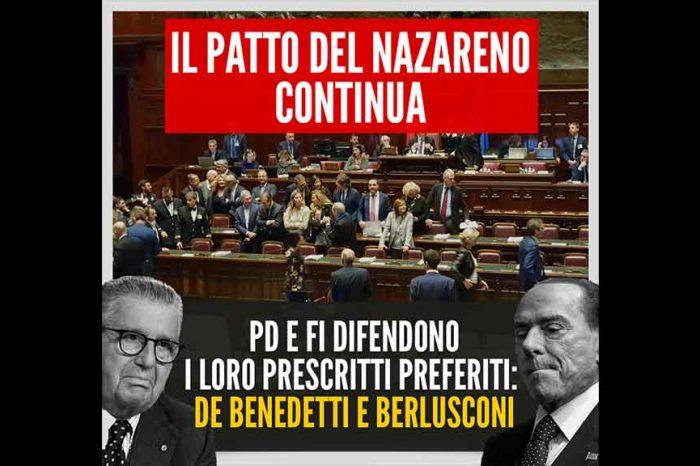 M5S: 'Torna il patto Nazareno, Pd e FI contro la giustizia per difendere Berlusconi e De Benedetti'
