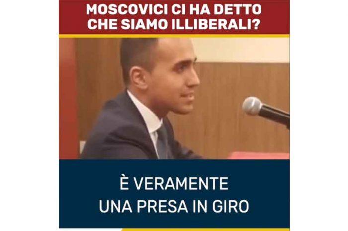 Di Maio a Moscovici: 'Italia illiberale? Quando il suo Paese arriverà al nostro livello ci può fare uno squillo'