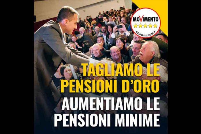 Di Maio: 'Finalmente tagliamo le pensioni d'oro e aumentiamo le minime'