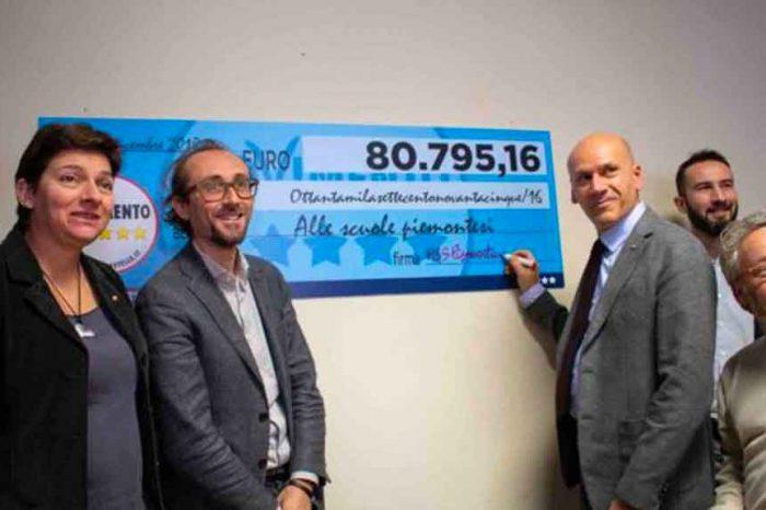 Piemonte, i consiglieri regionali M5S finanziano progetti scolastici con la restituzione delle quote di stipendio non percepite'