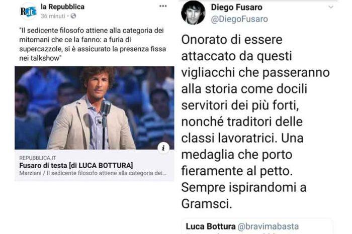 Diego Fusaro replica a Repubblica: 'Onorato di essere attaccato da questi vigliacchi'