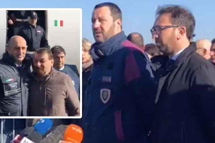 Ciampino, Salvini: 'Finalmente l'assassino comunista Cesare Battisti torna nelle patrie galere'