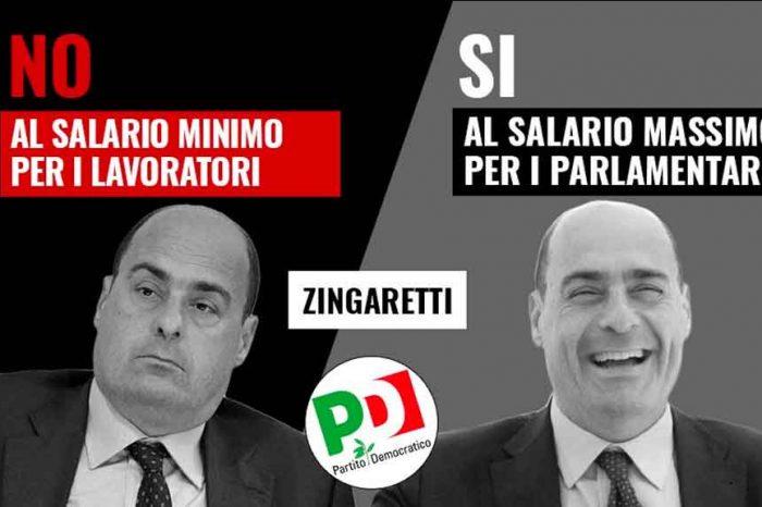 M5S: «Ecco il 'nuovo' Pd di Zingaretti: no al salario minimo per i lavoratori, sì al salario massimo per i parlamentari»