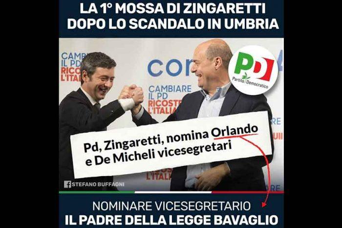 Zingaretti promuove vice Andrea Orlando, padre della Legge Bavaglio. M5S: «Questo è il 'nuovo' PD di Zingaretti»