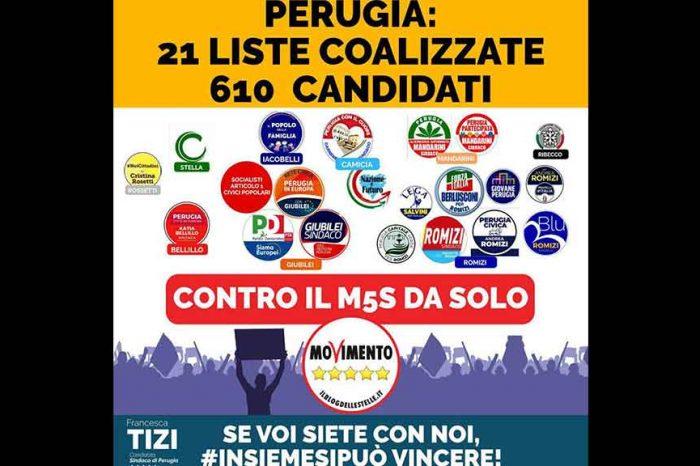 Elezioni amministrative Perugia, M5S: 'Noi da soli contro le accozzaglie di ogni tipo, prive di identità politica'