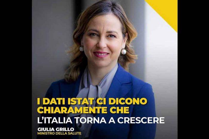 Il Ministro Giulia Grillo: 'I dati ISTAT dicono che l'Italia torna a crescere'