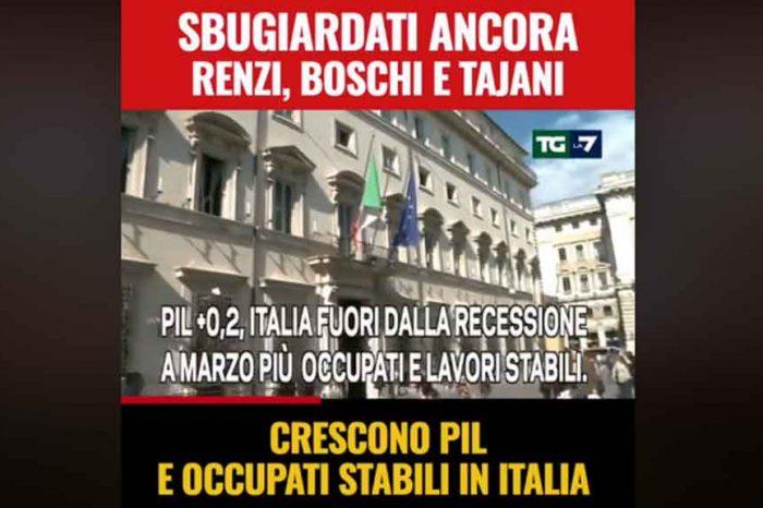 Crescono PIL e occupati in Italia, M5S: 'Sbugiardati ancora Boschi, Tajani, Renzi. Cosa si inventeranno adesso?'