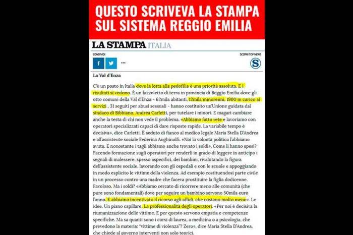 M5S: 'Ecco cosa scriveva la Stampa sul sistema criminale che faceva affari sulla pelle dei bambini a Reggio Emilia'