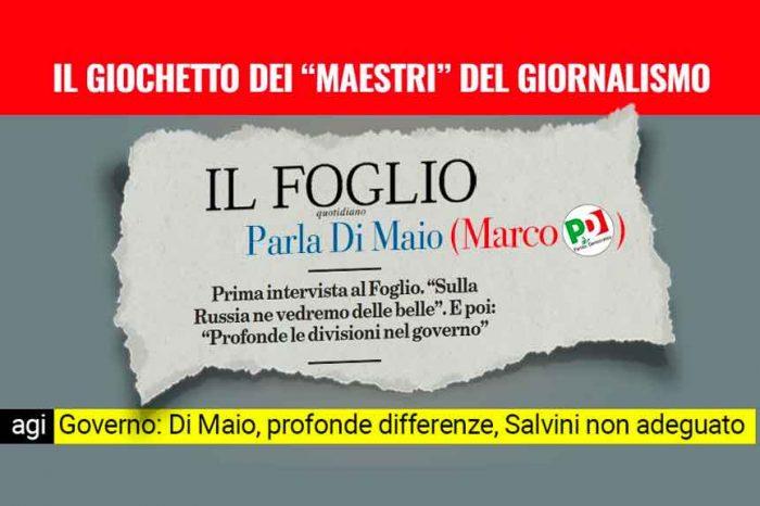 M5S: «Per qualche copia in più Il Foglio intervista Marco Di Maio (PD) ma 'dimentica' il nome»
