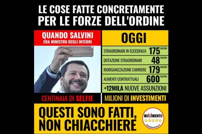 """M5S contro Salvini: """"Per la sicurezza 'il Chiacchierone' ha sicuramente fatto tanti selfie, ma non era sufficiente"""""""