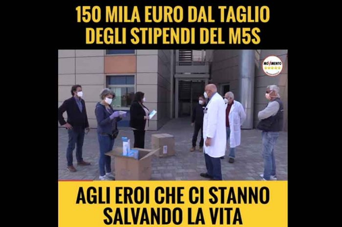 Campania, M5S: «Promessa mantenuta: 150mila euro di mascherina acquistate con il taglio dei nostri stipendi e consegnate agli eroi della sanità»
