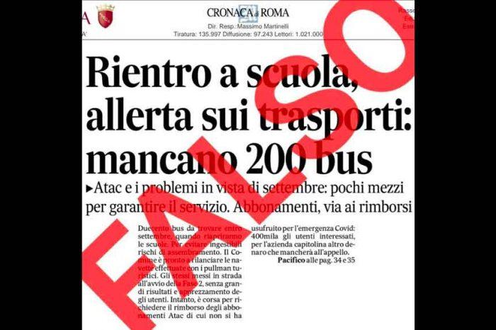 Roma: «Notizie false e fuorvianti sui trasporti. 'Il Messaggero' non si smentisce». La denuncia di Calabrese (M5S)