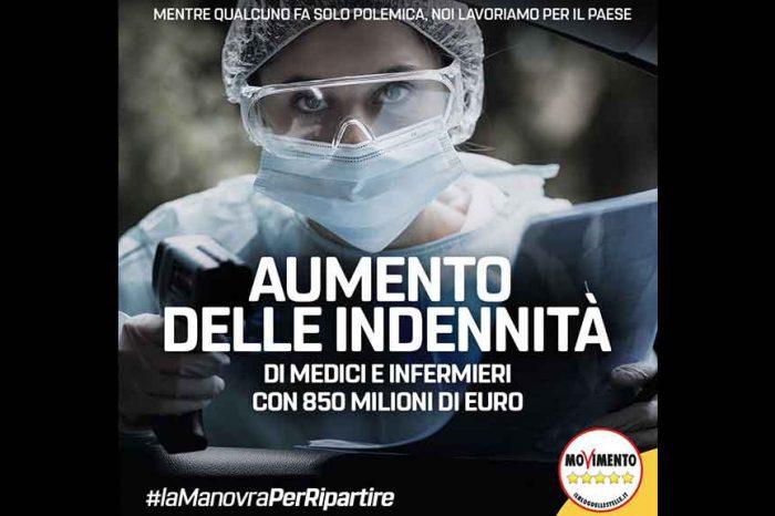 M5S: 'Aumentano le indennità di medici e infermieri con 850 milioni di euro'