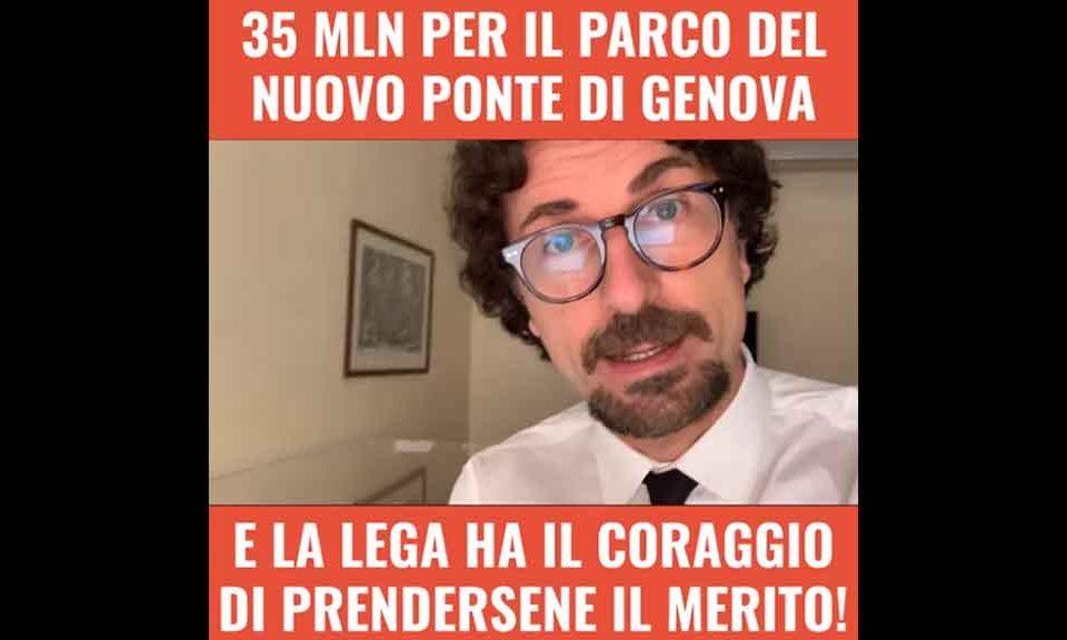 35 mln per il parco del nuovo ponte di Genova, Toninelli (M5S): 'La Lega se ne prende il merito, ma i soldi li abbiamo messi noi'
